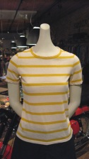 70s Tee. Yellow Stripe. 70% Cotton 30% Linen