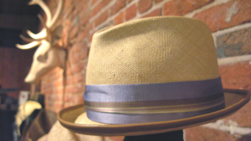 Elliot | Hand-Dyed Grey Shantung Straw Porkpie with Navy Suede piping on brim. Trimmed with Grey Grosgrain ribbon with Stripe Overlay