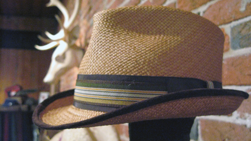 Kevin | Camel Panama Trilby with Brown Suede Piping on brim. Trimmed with Brown Grosgrain with multi stripe overlay.