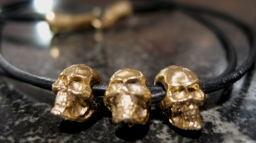 Three Skull Leather Necklace