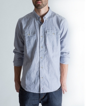 BLACKMANUFACTURING® Organic Stripe BD, Japanese Organic Cotton/Linen Blend. Made in the U.S.A.
