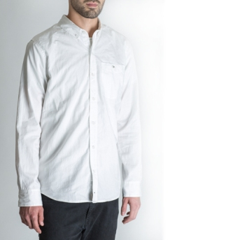 BLACKMANUFACTURING® White/Camo BD, Japanese Broadcloth Shirting, 100% Cotton, Camo Detailing. Made in the U.S.A.