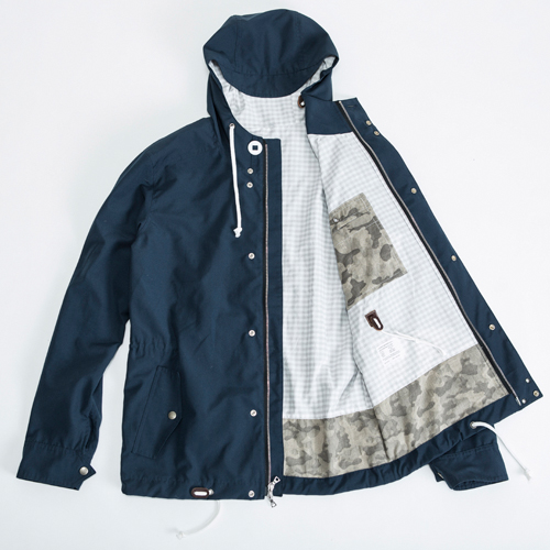 BLACKMANUFACTURING® WPD Parka, DWR Coated Waterproof Breathable Shell, 100% Nylon, 100% Cotton Gingham Lining/Camo Detailing, Riri 2-way Separating Zipper, Riri Zipper Chest Pocket, Leather Cordlocks, Adjustable Cuff, Hood/Torso/Waist Draw Cords, Navy and Wine